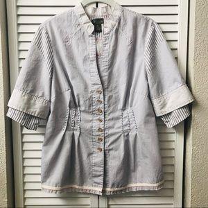 Anthropologie Fei blouse with mandarin collar